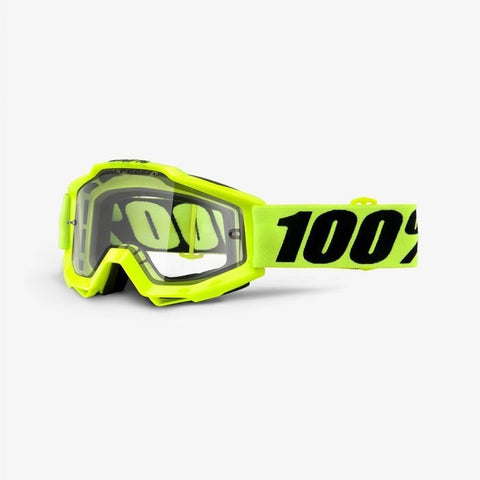 100% Accuri Goggle Fluro Yellow, Clear Lens