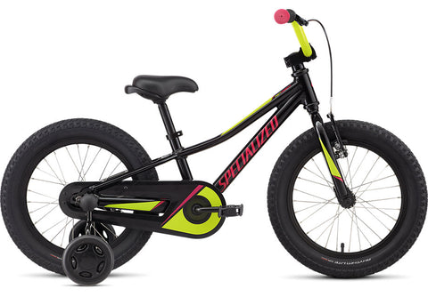 2021 Specialized Riprock 16 Coaster Gloss Black Gold Pearl/Hyper Green/Rainbow Flake Pink