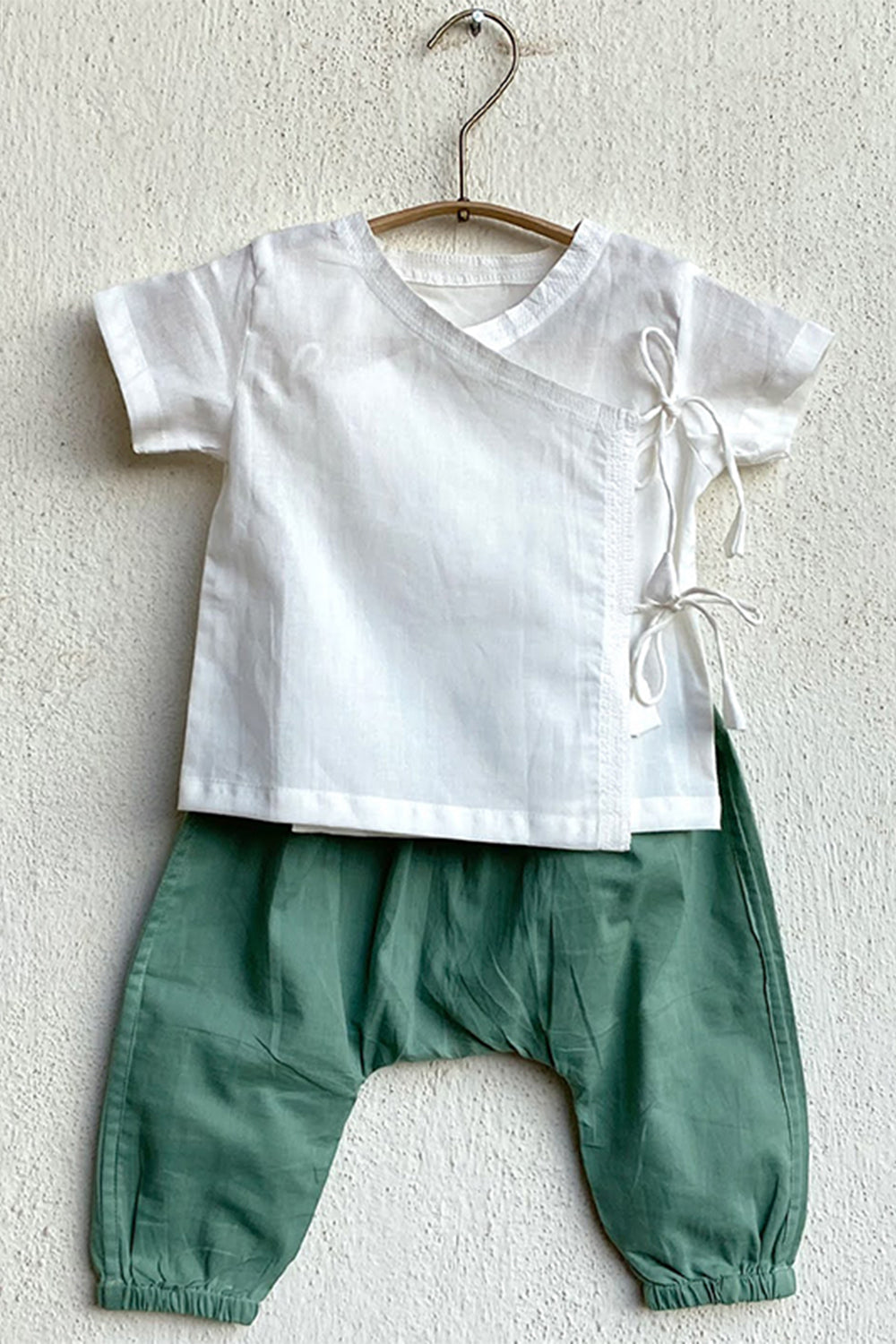 Unisex Organic White Angrakha Top & Mint Pants