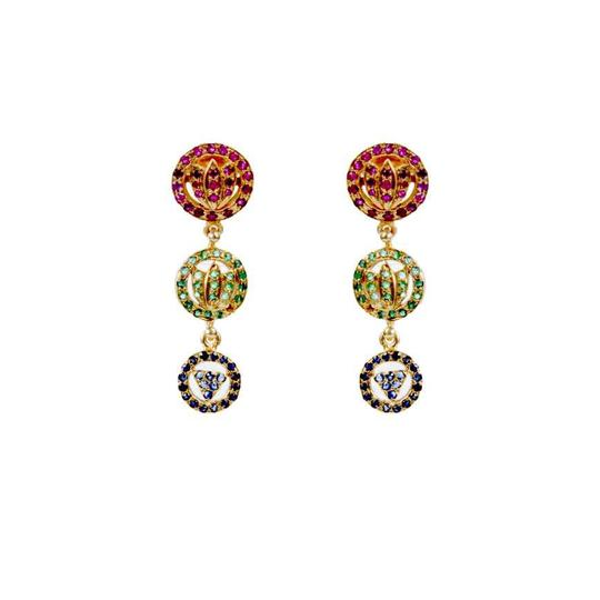 Lotus Devi Earring in Rubies, Emeralds, and Sapphire - Go-Native Store
