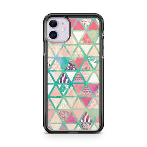 Pink Turquoise Abstrackfloral Triangles Patchwork iPhone 11 Case Cover
