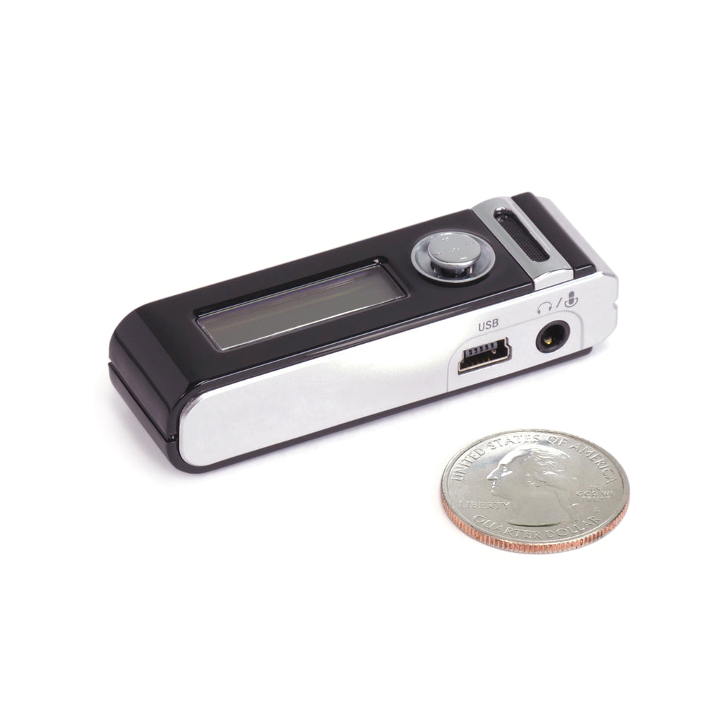 Micro Stick Voice Activated Audio Recorder Side View and Quarter for Size