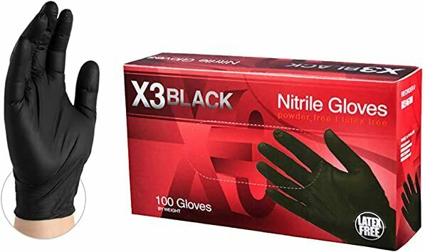 NITRILE Disposable Powder Free Latex Free gloves 100 Pcs  Medium Black