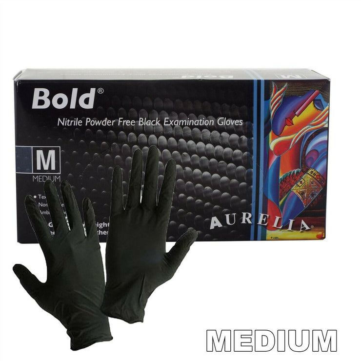 NITRILE Exam Grade disposable rubber Powder Free gloves 100 Pcs - Black - Medium