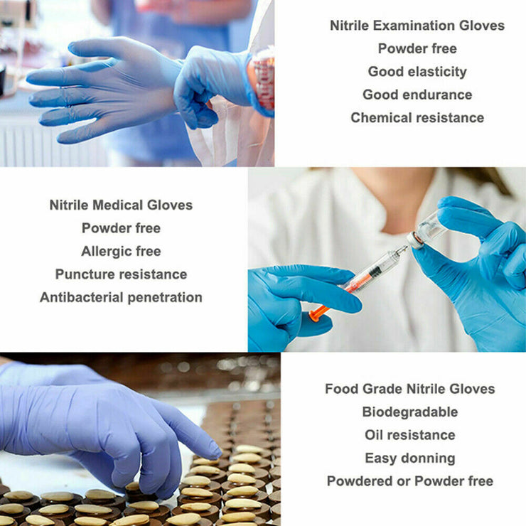 Gloves - NITRILE Exam Grade disposable rubber Powder Free 100 Pcs