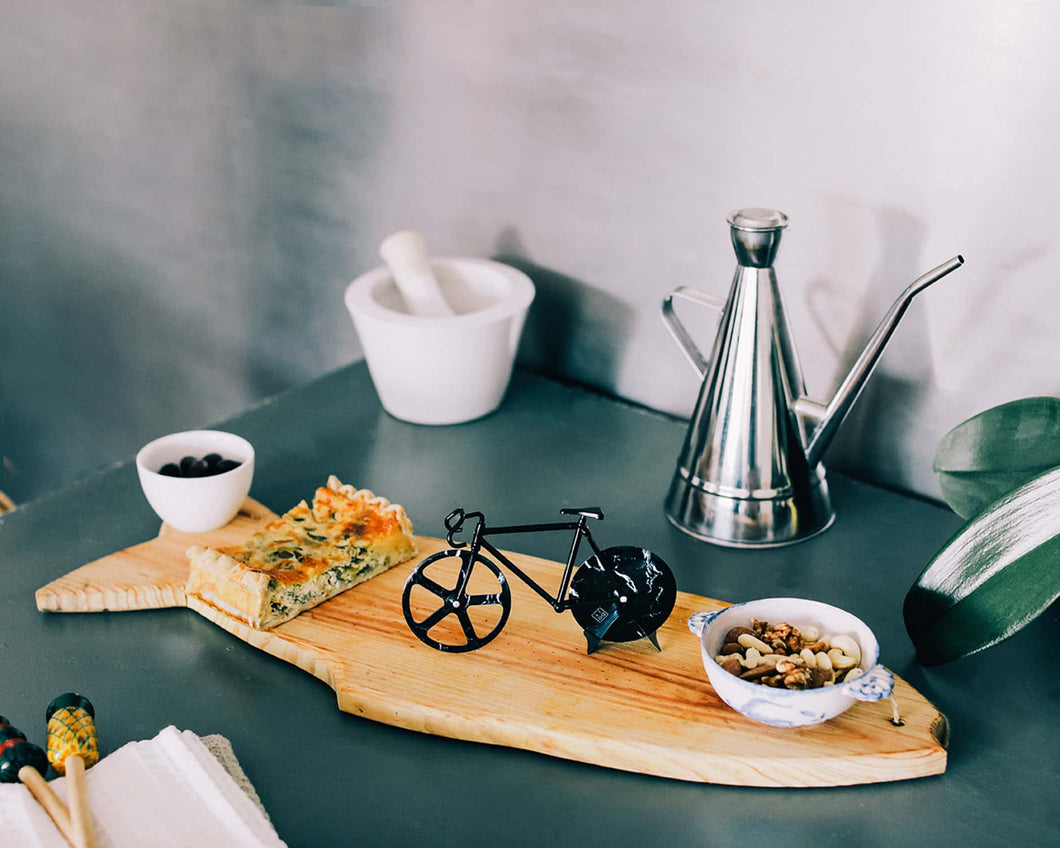 Bicycle Pizza Cutter - Black Marble