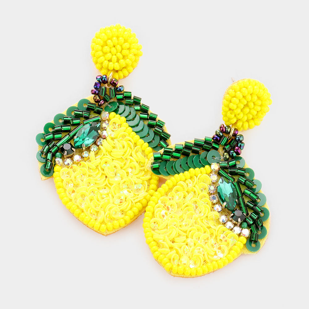 Sequined Lemon Earrings