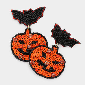 Beaded Pumpkin and Bat Earrings