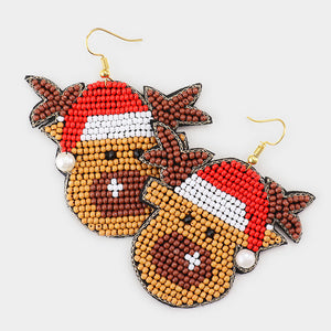 Beaded Rudolph Earrings