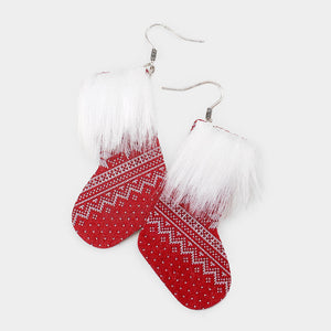Faux Fur Christmas Stocking Earrings