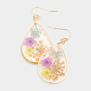 Pressed Flower Earrings - Pasel
