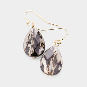 Natural Stone Dangle Earrings - Black & Clear