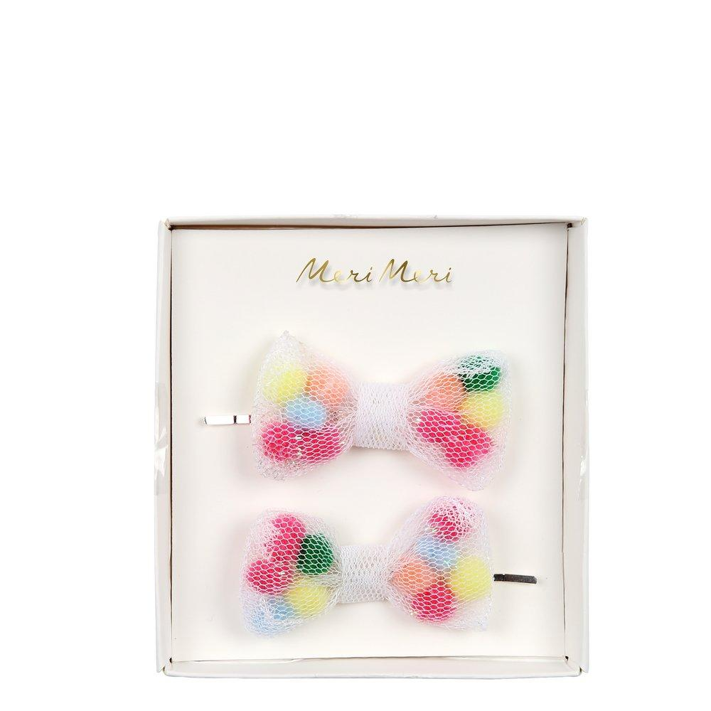 Pom Pom Net Hair Slides
