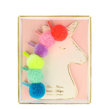 Load image into Gallery viewer, Pom Pom Unicorn Hair Clips