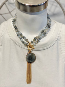 Long Beaded Stone & Tassel Necklace