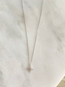 Sterling Sparkling Moravian Star Necklace