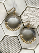 Load image into Gallery viewer, Leather + Acrylic Round Earrings