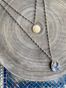 Layered Rosary Chain Gemstone Pendant