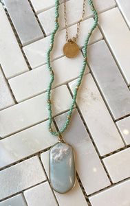 Long Layered Beaded Stone Necklace
