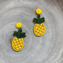 Load image into Gallery viewer, Beaded Pineapple Statement Earrings
