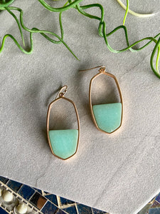 Semi-Precious Turquoise and Gold Oblong Earring