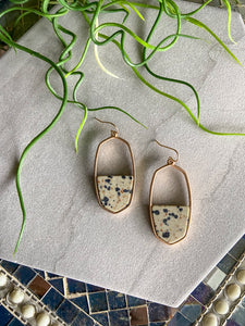 Dalmation Agate Oblong Earrings