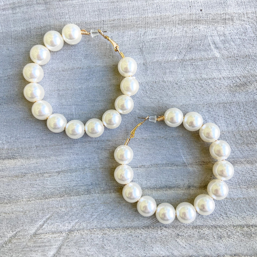 Floating Pearl Statement Hoop Earrings