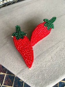 Beaded Chili Pepper Earrings