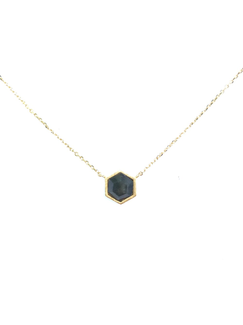 Natural Stone Necklace - Labradorite Hexagon