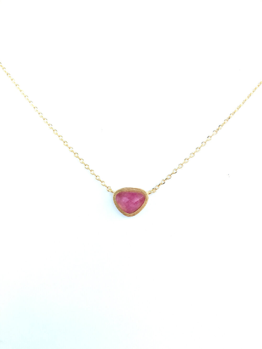 Natural Stone Necklace - Ruby