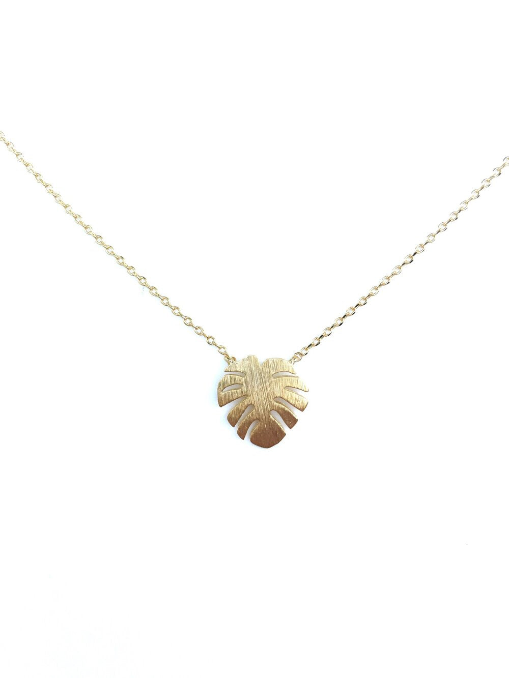 Monstera Leaf Dainty Necklace