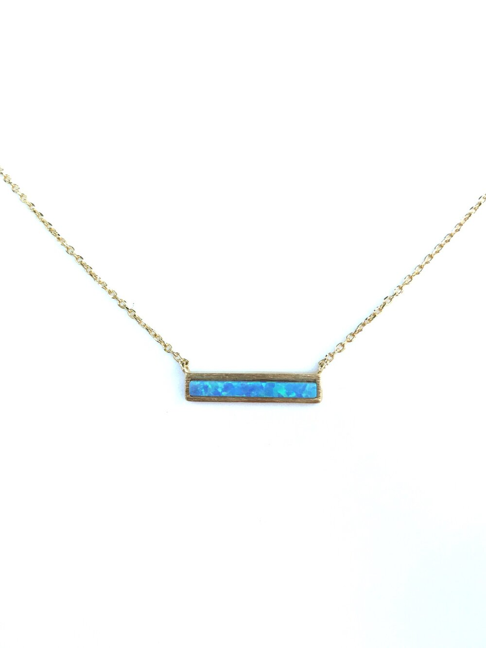 Blue Opal Bar Necklace