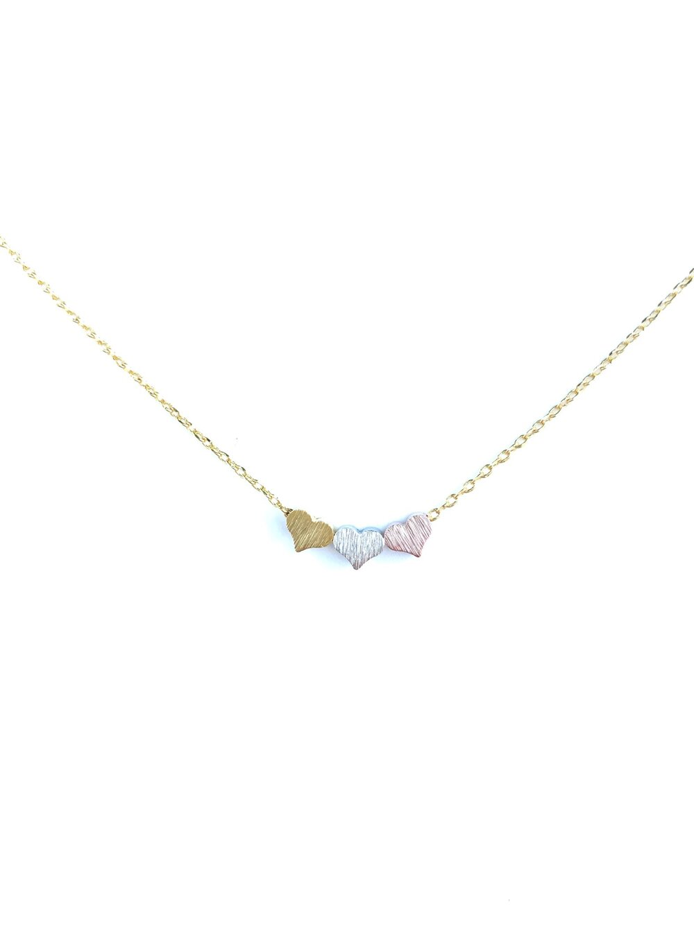 Triple Heart Dainty Necklace - Gold
