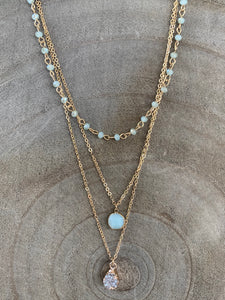 Trio Layered Druzy Necklace