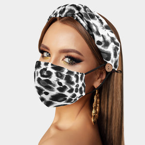 Black Leopard Print Cotton Fashion Mask and Headband Set