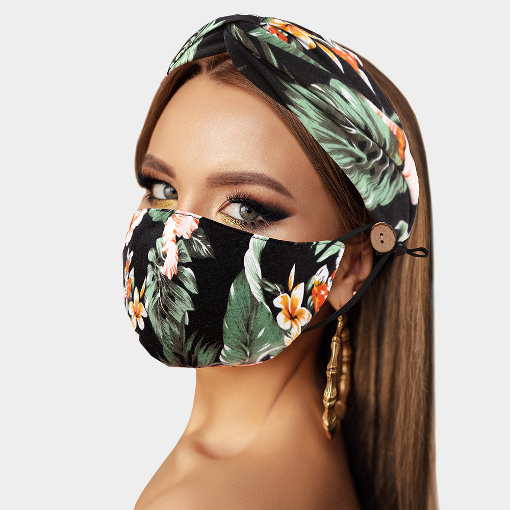 Tropical Leaf and Flower Print Cotton Fashion Mask and Headband Set