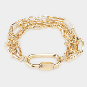 Open Oval Accented Metal Chain Bracelet