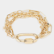 Load image into Gallery viewer, Open Oval Accented Metal Chain Bracelet