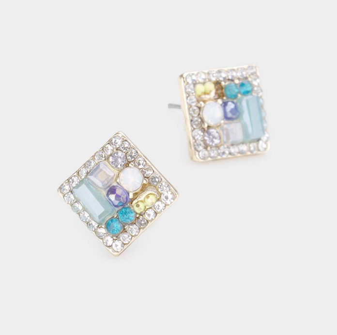 Clustered Square Earrings