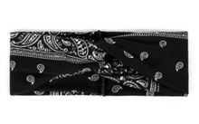 Load image into Gallery viewer, Black Paisley Headband with Buttons