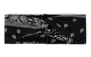 Black Paisley Headband with Buttons