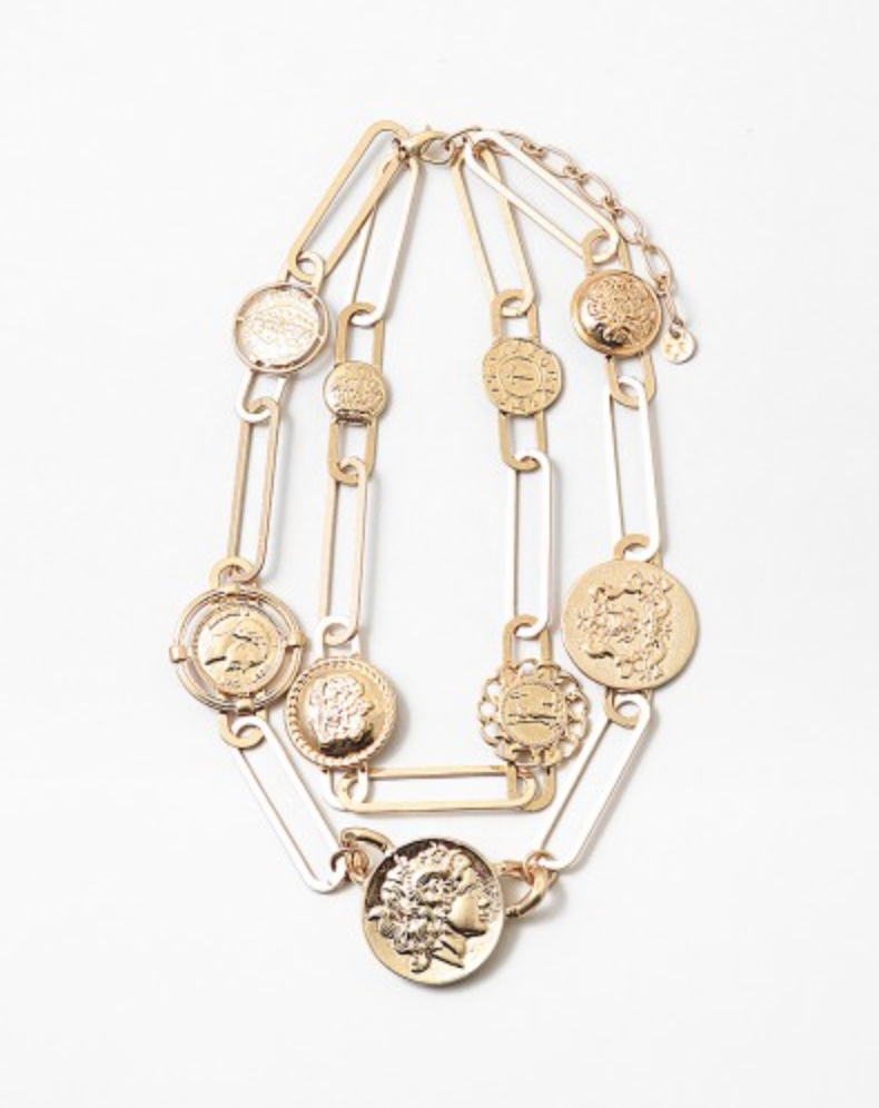 Paperclip + Roman Coin Necklace