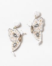 Load image into Gallery viewer, Beaded White Butterfly Earrings