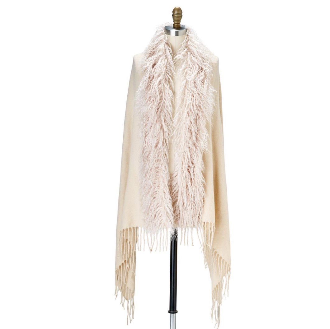 Faux Ostrich Fur Trimmed Cape