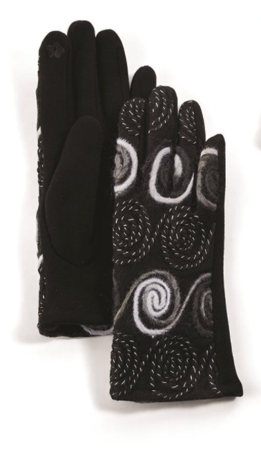 Embroidered Gloves with Touchscreen Fingertips