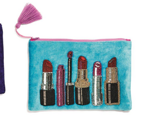 Lipstick Hand Beaded Clutch