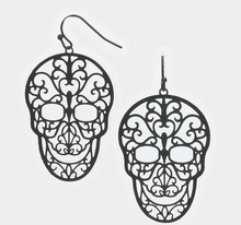 Load image into Gallery viewer, Sugar Skull Filagree Earrings