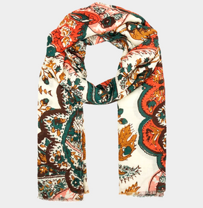 Old World Print Oblong Scarf