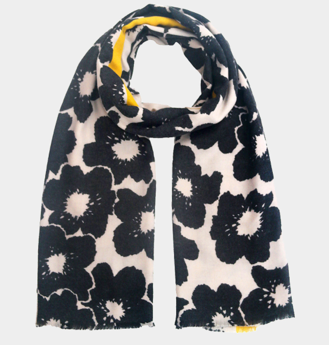 Two Toned Cherry Blossom Flower Print Scarf
