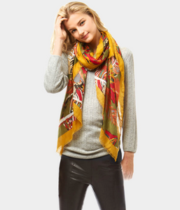 Multi Color Leaf Print Oblong Scarf